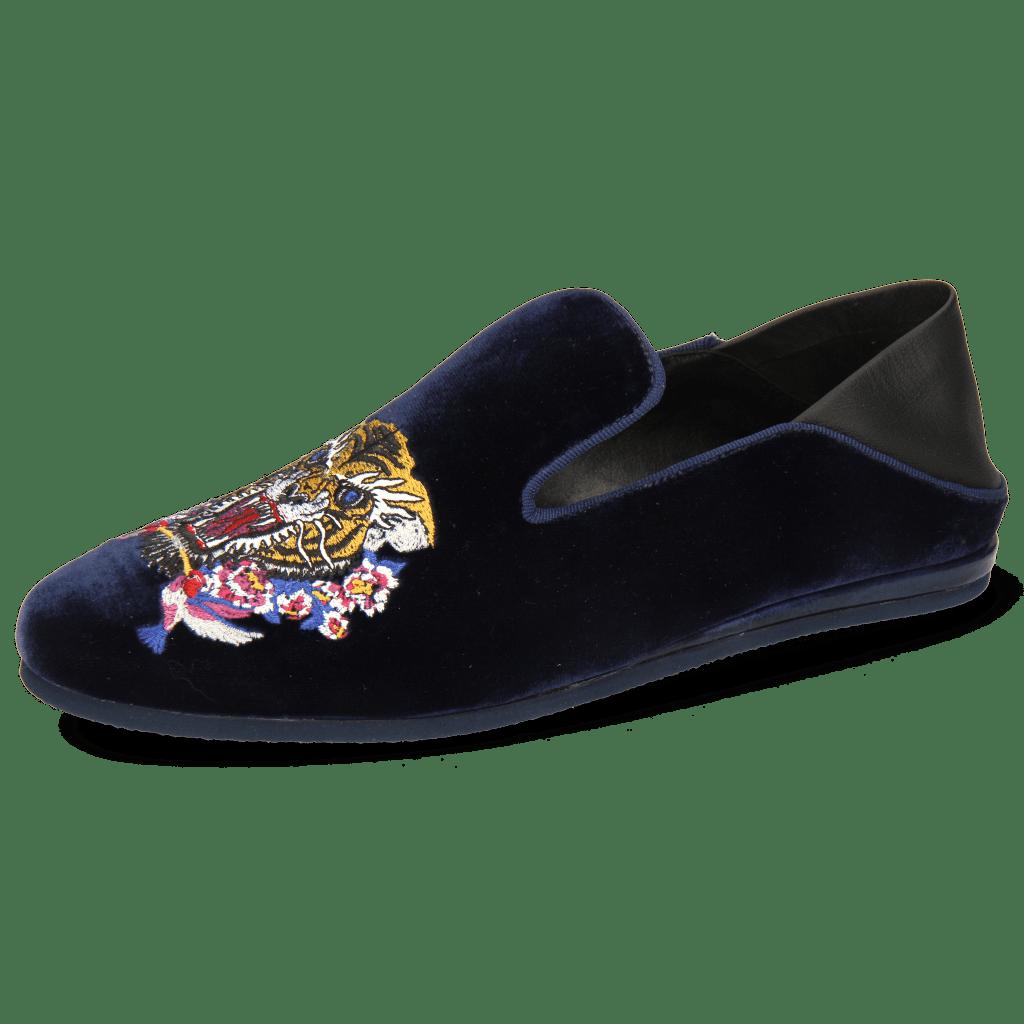 Mocassins Scarlett 37 Velluto Midnight Nappa Black Embroidery Tiger