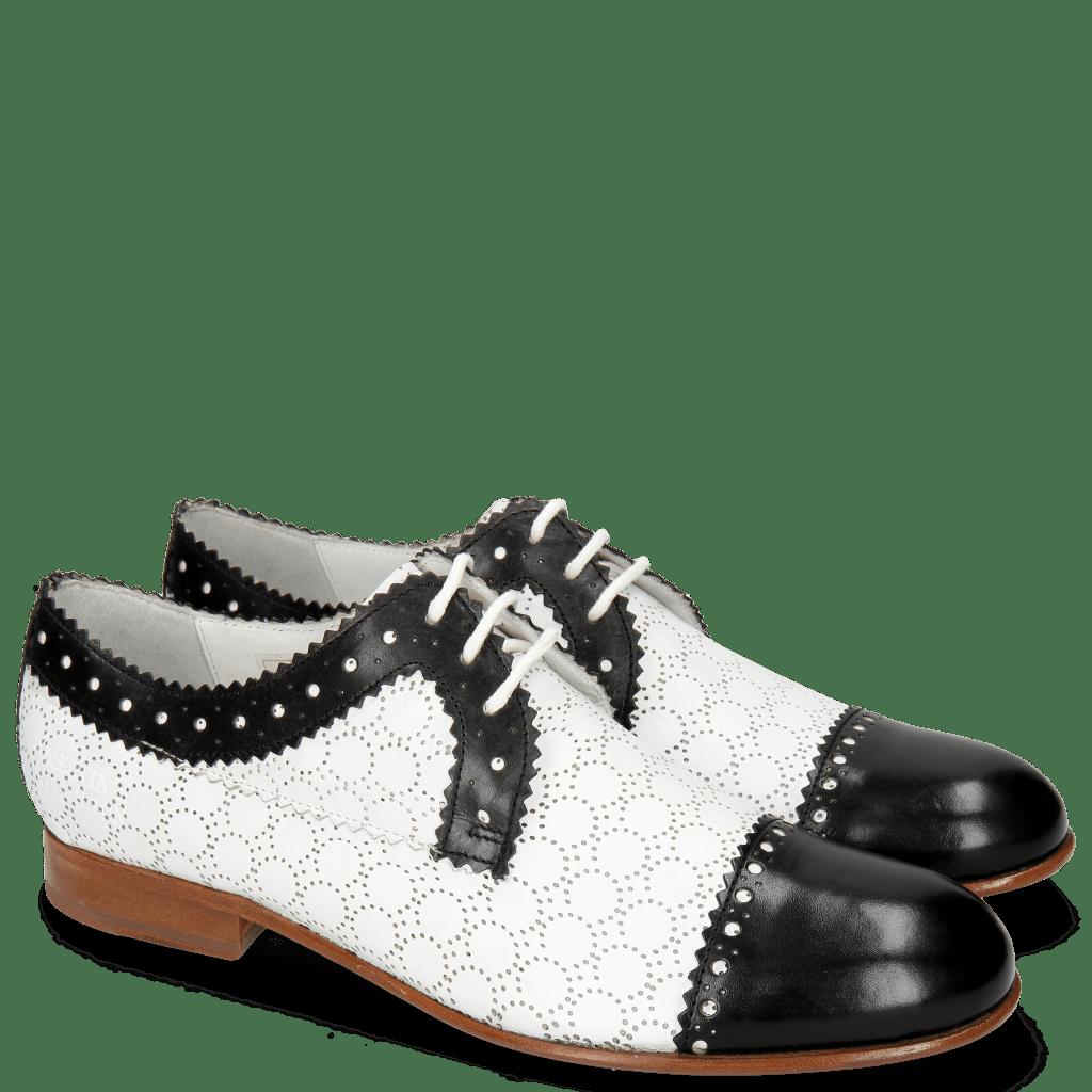 Derbies Sally 107 Black Nappa Perfo White