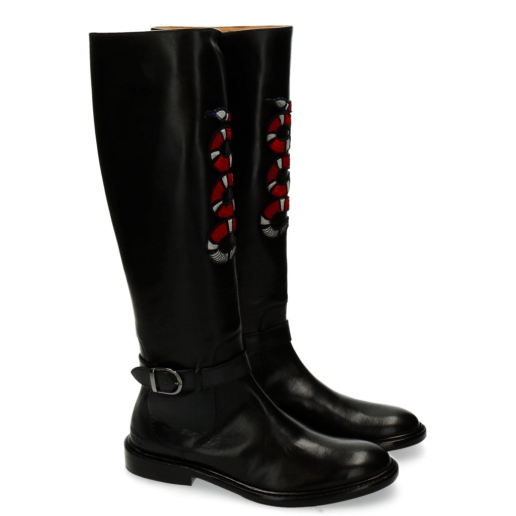 Bottes Sally 59 Black Embrodery Snake New HRS Thick