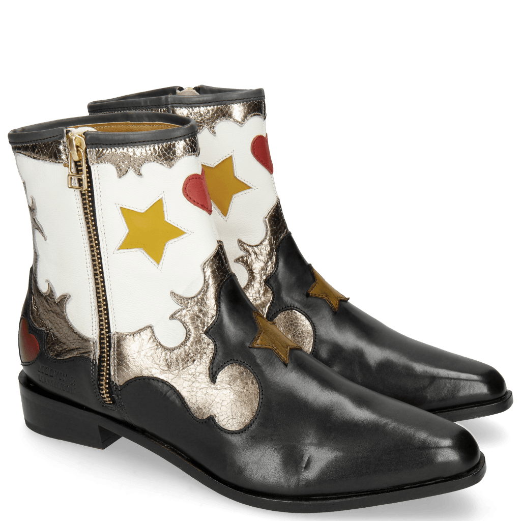 Bottines Marlin 12 Black Crush Metal Gold Venice White
