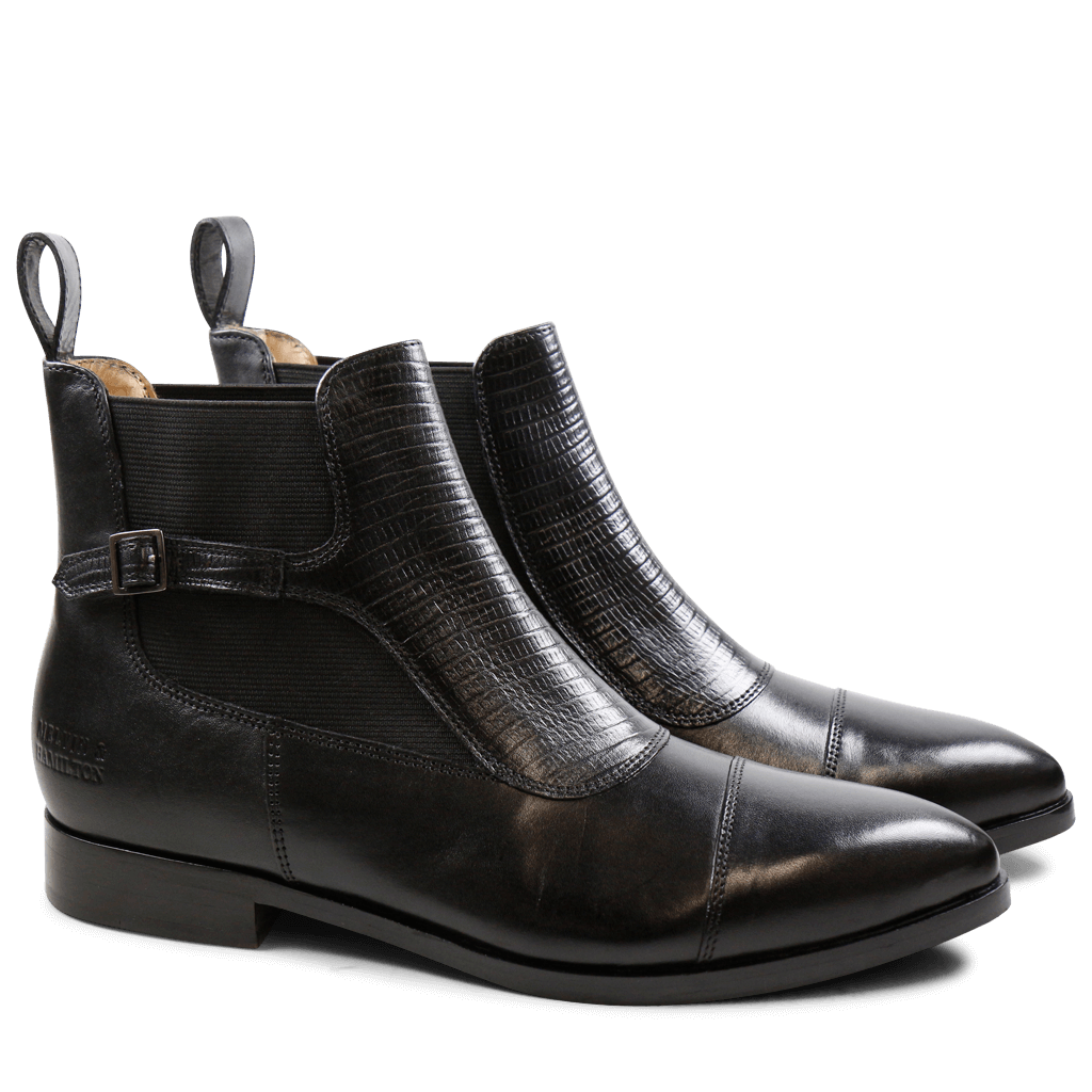 Bottines Jessy 10 Crust Black Guana Black Elastic Black HRS