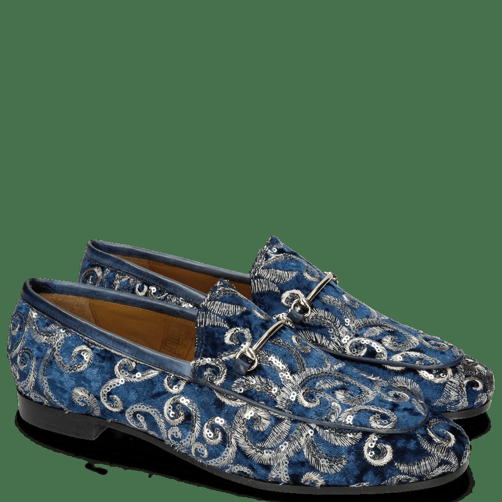 Mocassins Scarlett 1 Textile Zardosi Blue