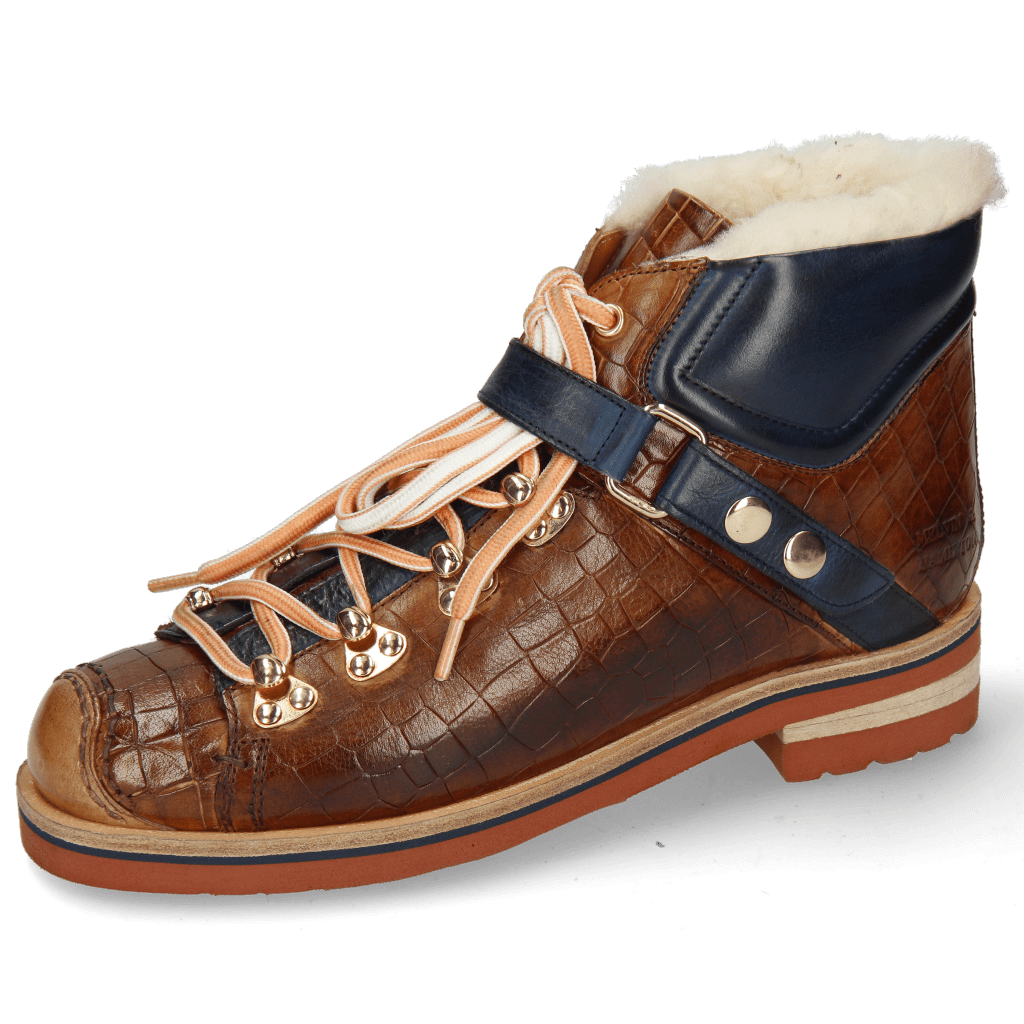 Bottines Eliza 1 Crock Wood Pisa Navy White Fur
