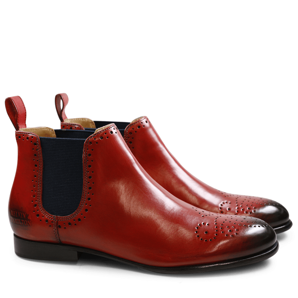 Bottines Sally 16 Rich Red Elastic Navy