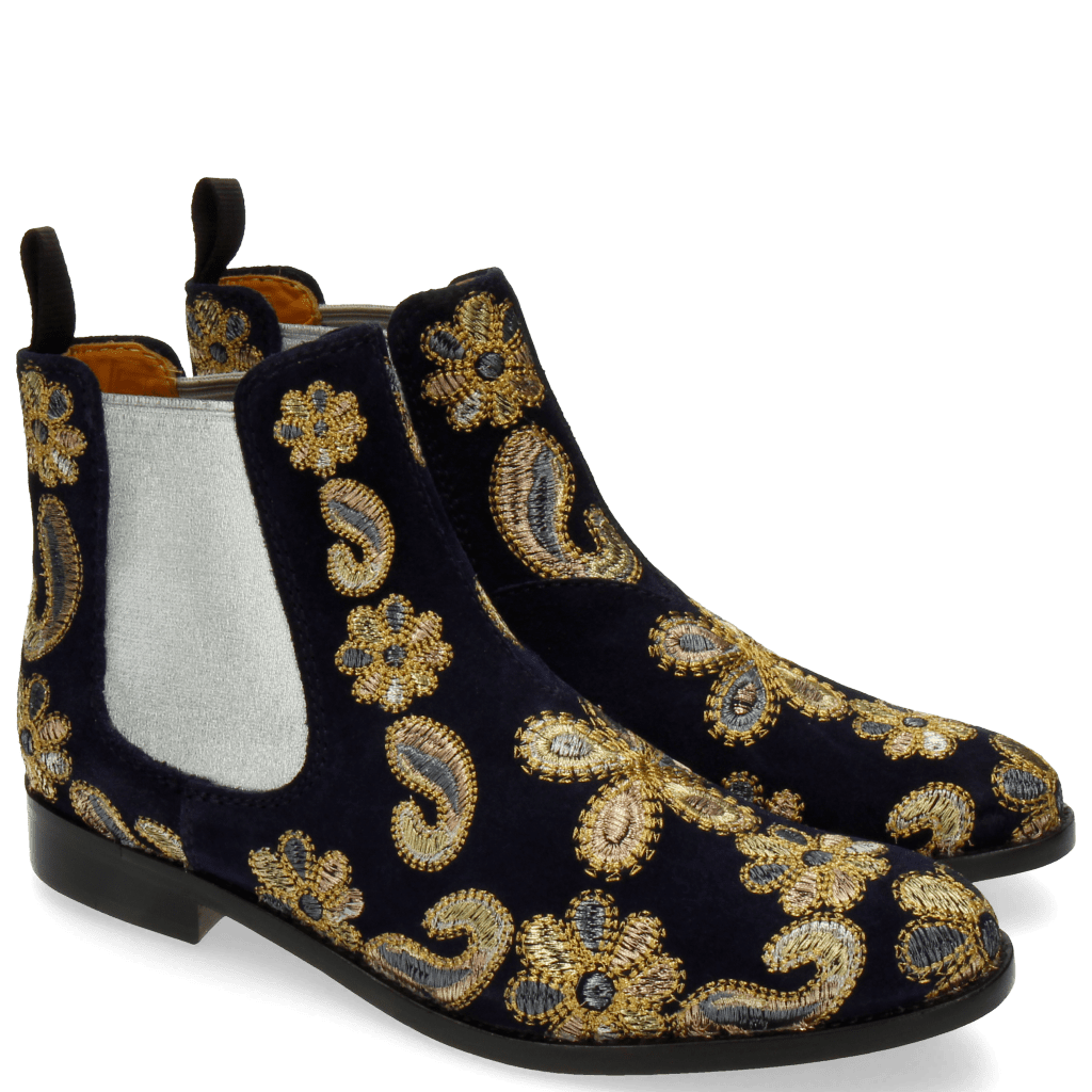 Bottines Roberta 8 Suede Blue 111 Embrodery Paisley