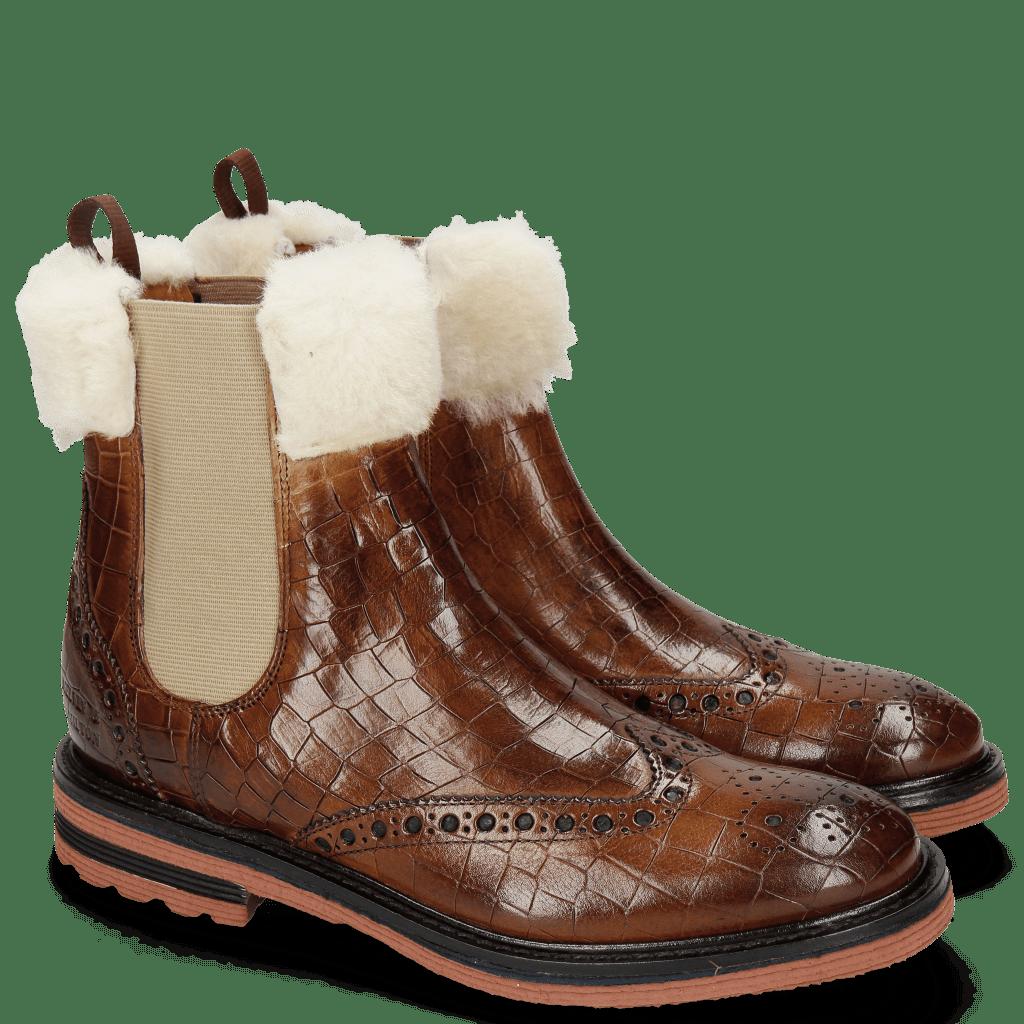 Bottines Amelie 63 Crock Wood Fur Lining Beige