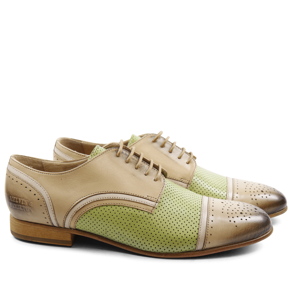 Derbies Sally 40 Salerno Cappu Perfo Lemon Binding Off White LS