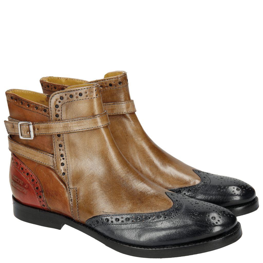 Bottines Amelie 11 Navy Ash Cognac Red Strap Ash HRS