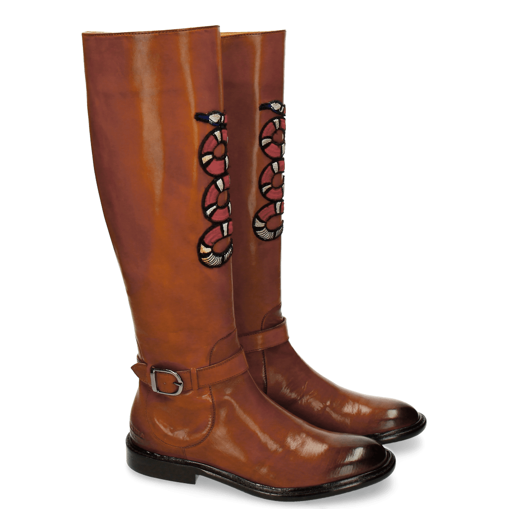 Bottes Sally 59 Wood Embrodery Snake New HRS Thick