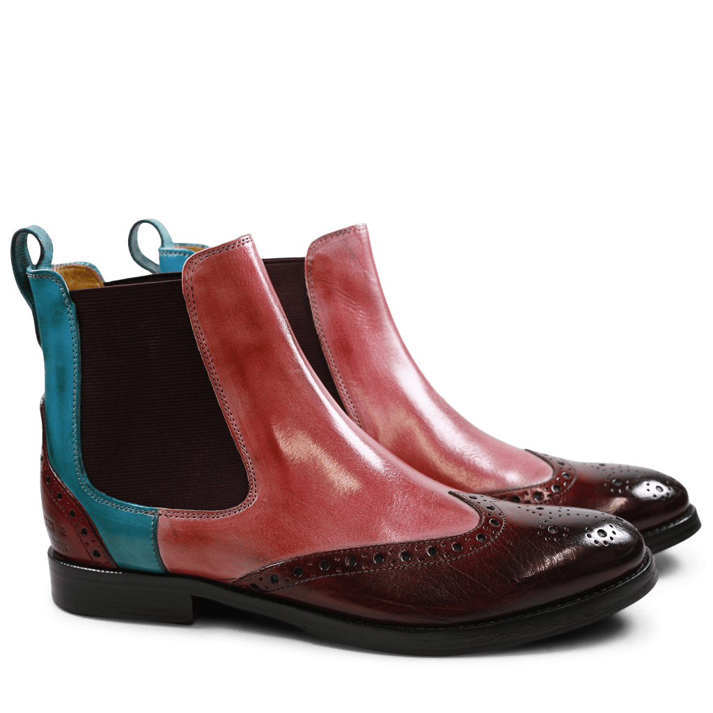 Bottines Amelie 5 Burgundy Rose Ice Blue Elastic Burgundy