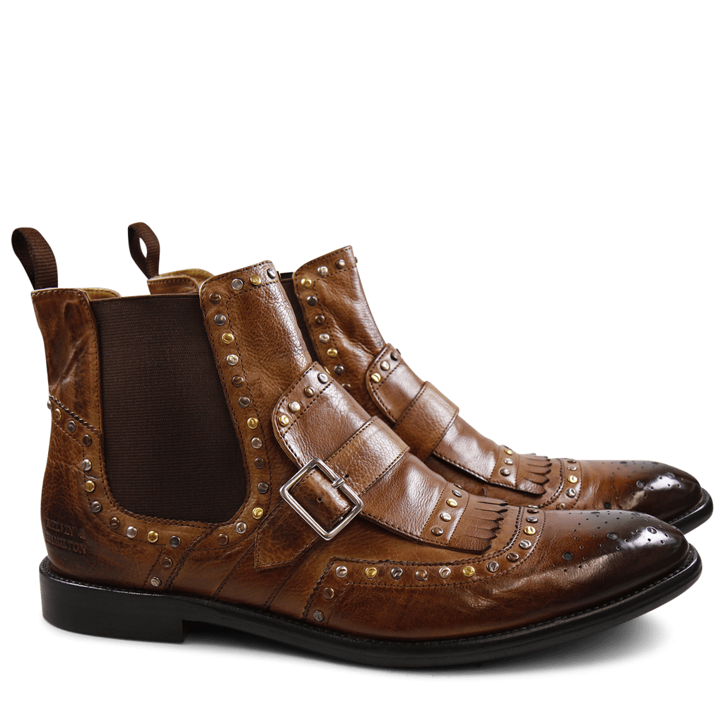Bottines Eddy 21 Milano Wood Mixed Rivets Elastic Brown LS Brown