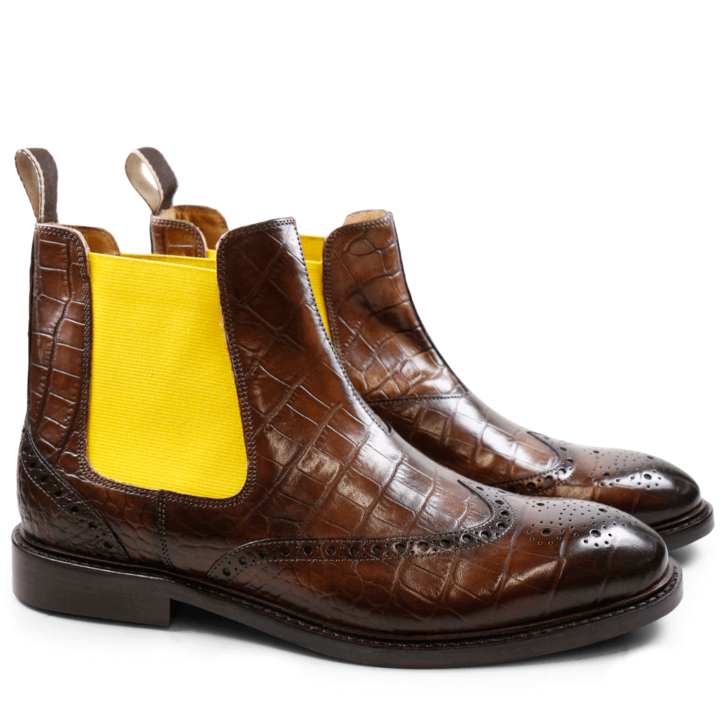 Bottines Matthew 5 Crust Croco Dark Brown Elastic Yellow HRS