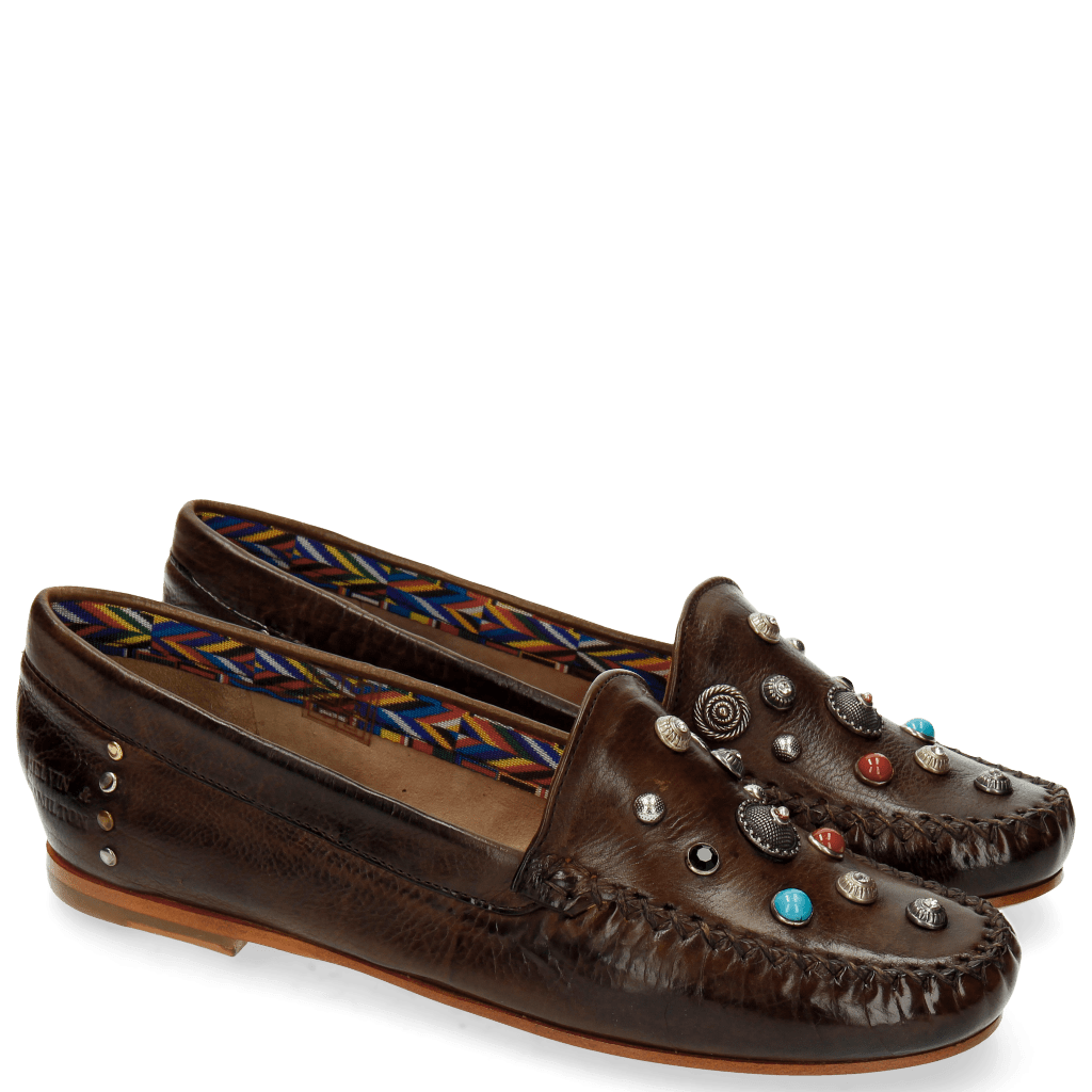 Mocassins Bridget 1 Milano Dark Brown Rivets