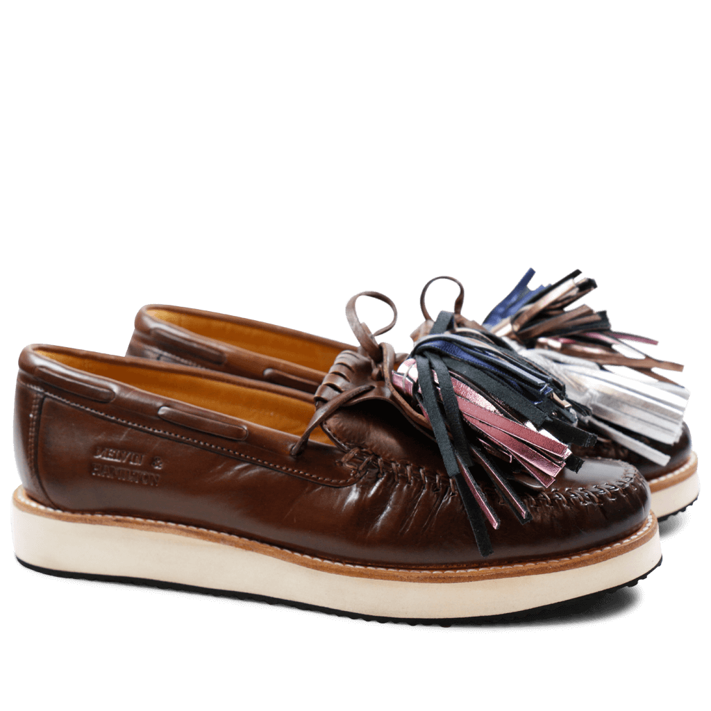 Mocassins Bea 4 Crust Dark Brown Tassel Multi XL Malden White Rubber Black