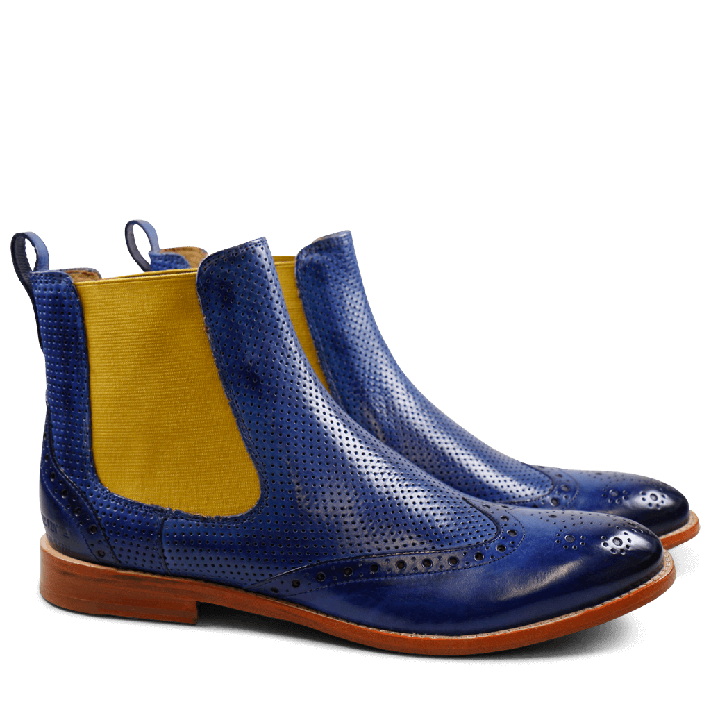 Bottines Amelie 5 Electric Blue Perfo Elastic Yellow LS Natural