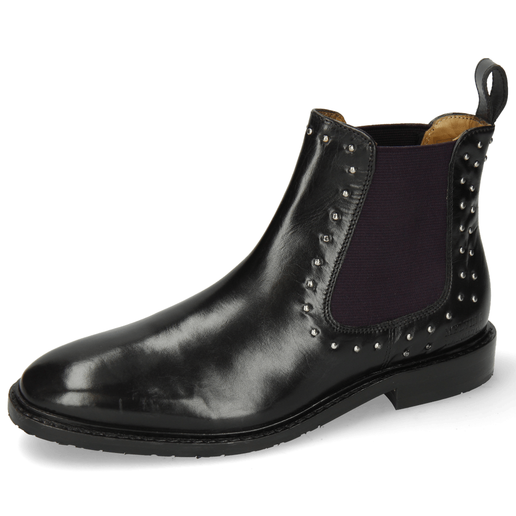 Bottines Katrin 3 Black Rivets Elastic Purple