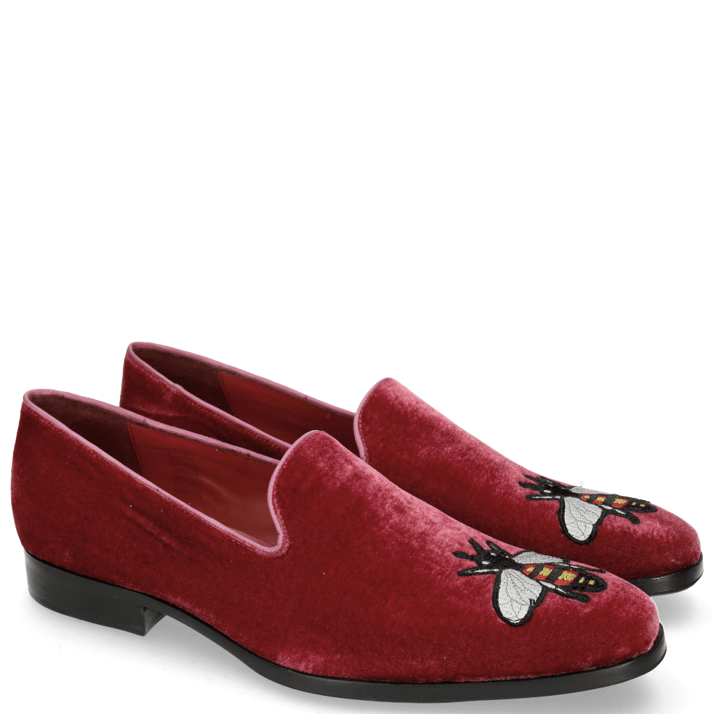 Mocassins Prince 2 Velluto Wine Bee Patch