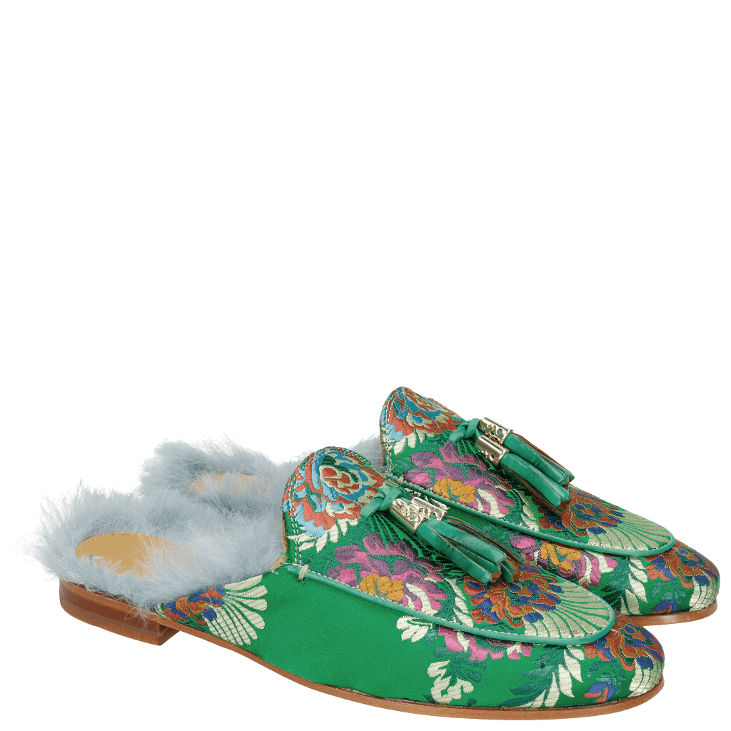 Mules Scarlett 2 Korela Green Fur Lining Turquoise Tassel Green Orange