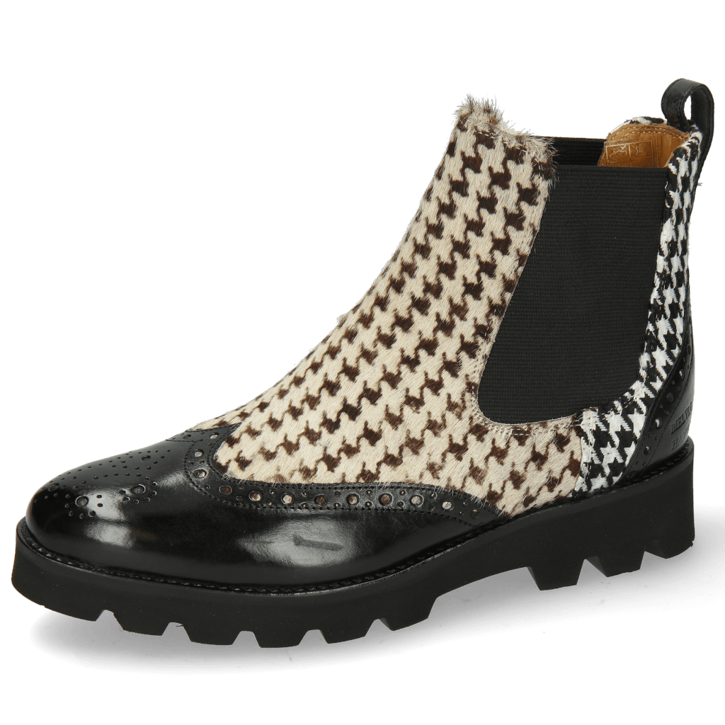 Bottines Selina 29 Black Hairon Tweed Textile Black White