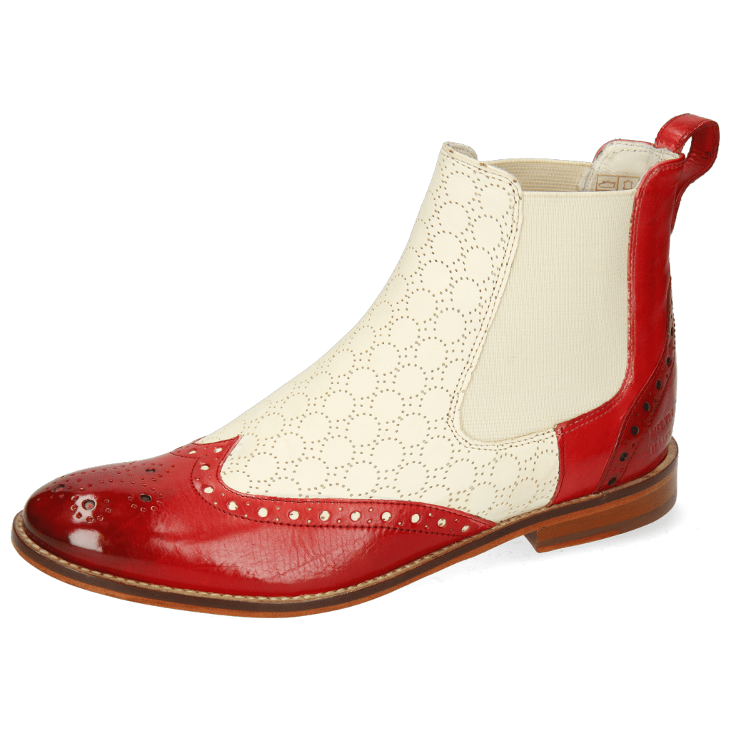 Bottines Amelie 5 Vegas Rich Red Perfo White