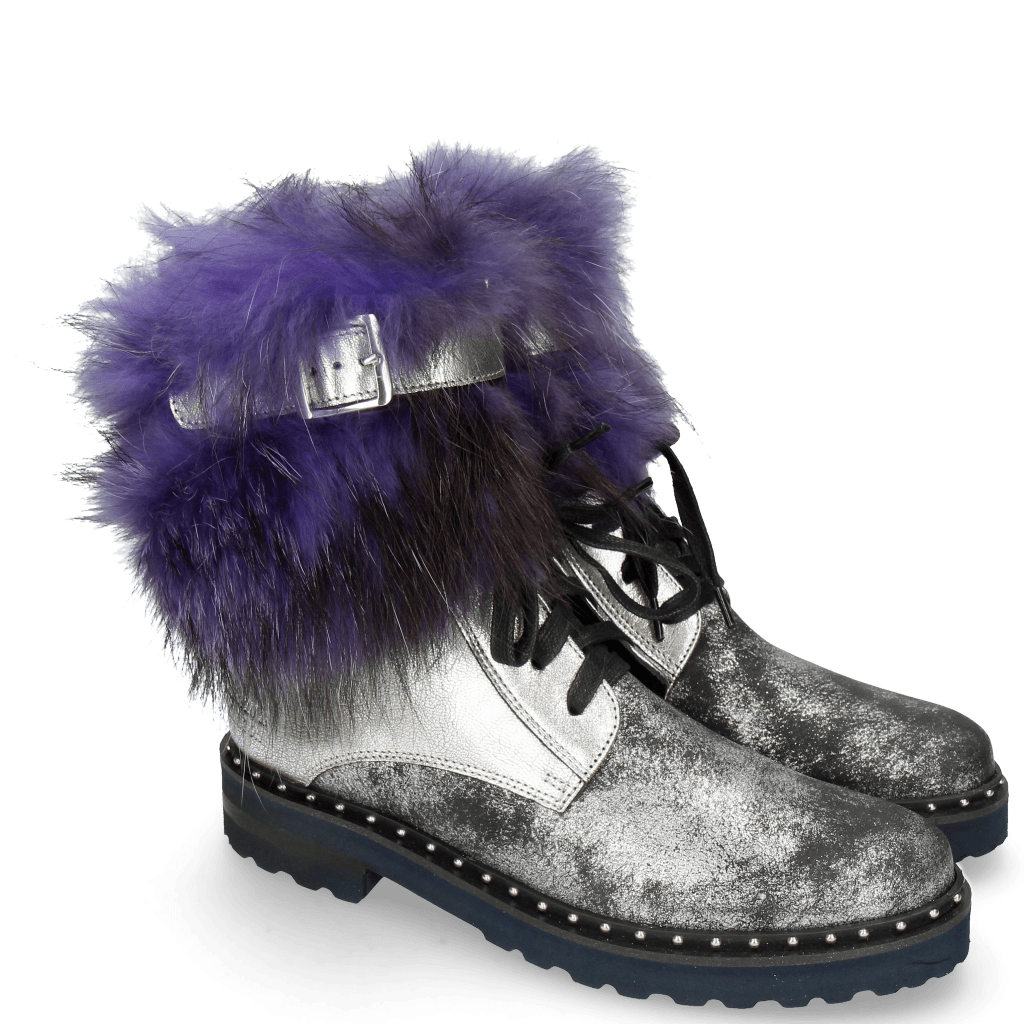 Bottines Bonnie 18 Afix Grafite Black Nappa Aztek Silver Fur Bunny Blue
