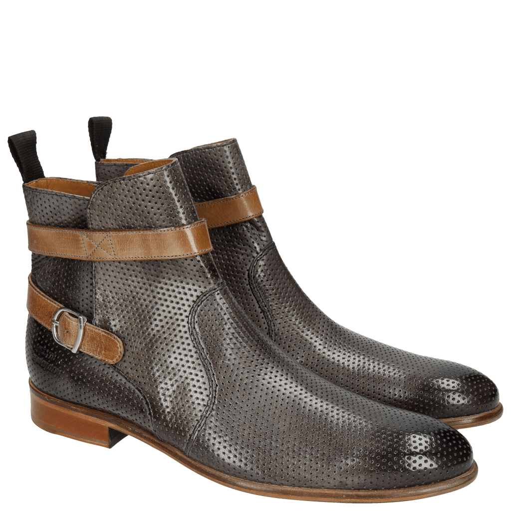 Bottines Henry 9 Classic Perfo Mid Blue Strap Ash