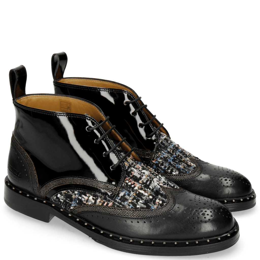 Bottines Sally 30 Black Fermont Gunmetal Textile Duke Spark