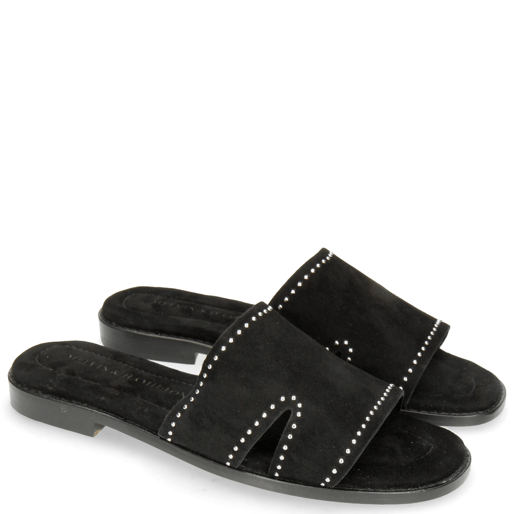 Mules Elodie 20 Parma Suede Black Rivets