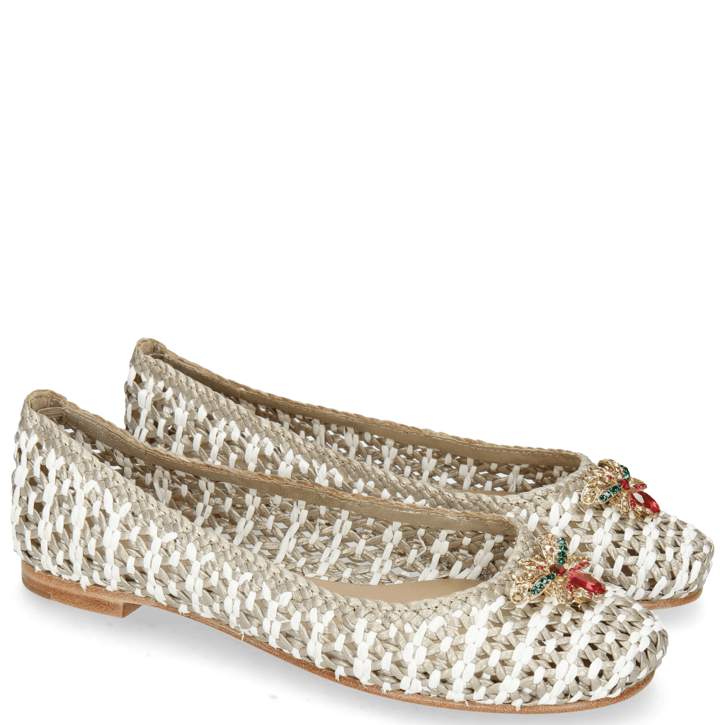 Ballerines Kate 5 Woven Ash Raffia White Accessory Bee