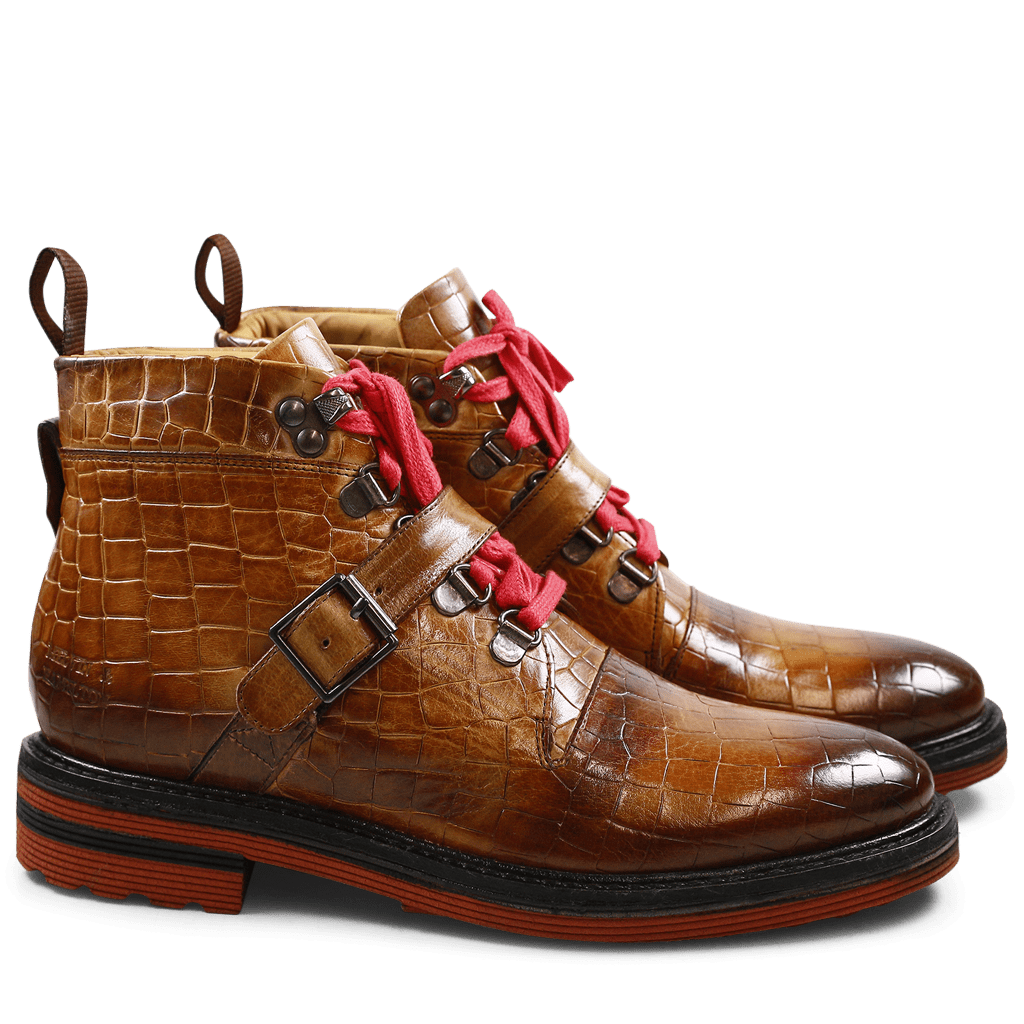 Bottines Amelie 22 Crock Tobacco Laces Red Strap Tobacco