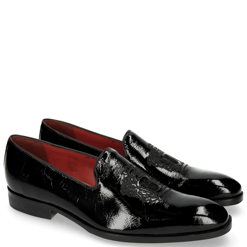 Mocassins Prince 2 Patent Soft Black Embrodery Crown