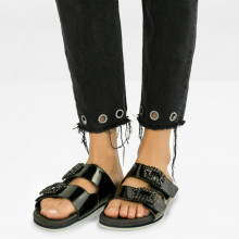 Mules Helen 3 Patent Black Buckle Nero Modica White EVA