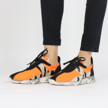 Sneakers Briana 1 Suede Black Funky Orange Hairon Wide Zebra