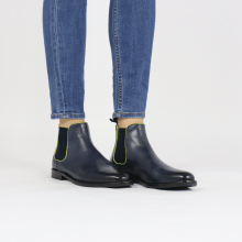 Bottines Selina 48 Pavia Navy Binding Fluo Yellow