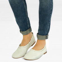 Ballerines Iris 2 Nappa White Sheep Platin