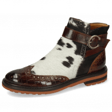 Bottines Amelie 67 Crock Mid Brown Hairon Jersey Textile Prisma Bronze