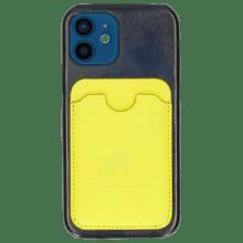 Coque iPhone Twelve Vegas Navy Wallet Fluo Yellow