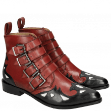 Bottines Marlin 16 Black Ruby Underlay Patent White Straps Ruby