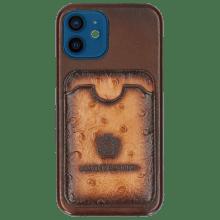 Coque iPhone Twelve Vegas Dark Brown Wallet Ostrich Tan