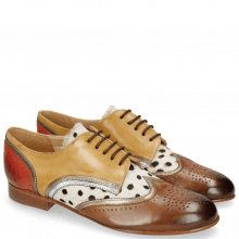 Derbies Sally 15 Vegas Nougat Sand Nappa Aztek Gold Silver Hairon Wildcat