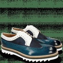 Derbies Trevor 10 Mid Blue Textile Dots Milled White
