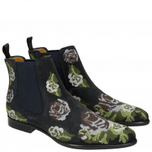 Bottines Keira 6 Suede Navy Embrodery Blue Green Beige Orange