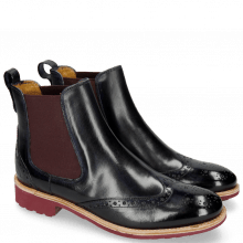 Bottines Amelie 5 Navy Elastic Burgundy