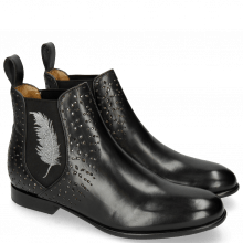 Bottines Sally 83 Black Embrodery Feather Silver