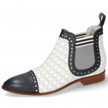 Bottines Jessy 55 Nappa Glove Deep Navy Perfo White