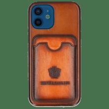 Coque iPhone Twelve Vegas Tan Wallet Orange