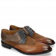 Derbies Victor 9 Rio Wood Navy Stone Suede Pattini Cognac Textile