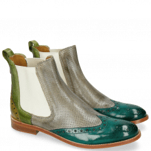 Bottines Amelie 5  Onda Perfo Morning Grey Mid Green
