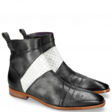 Bottines Elvis 26 Perfo Black Soft Patent White