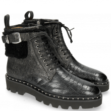 Bottines Susan 66 Crock Petrol Barrow Metal Sherling Black Sword Buckle